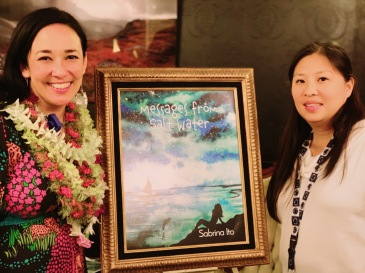 """With artist, Andrea Tam. This beautiful watercolor was inspired by a poem from Messages from Salt Water, called, """"Leonids and a Snowy Field."""""""